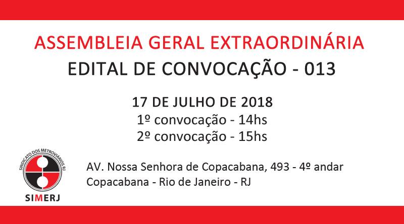 EDITAL DE CONVOCAÇÃO AGE 013
