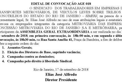Assembleia Geral Extraordinária MetrôRio/Barra 018 – dia 21 de setembro